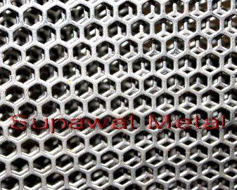 ตะแกรงรูหกเหลี่ยม แผ่นเหล็กเจาะรู perforated metal